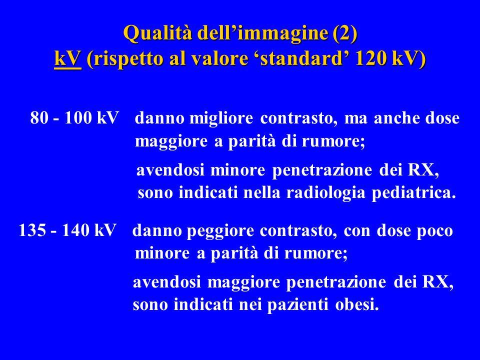 Qualità dell'immagine (2) kV (rispetto al valore 'standard' 120 kV) 80 - 100 kV danno migliore contrasto, ma anche dose maggiore a parità di rumore; a
