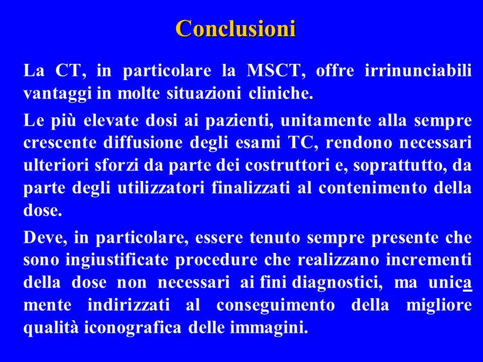 Conclusioni La CT, in particolare la MSCT, offre irrinunciabili vantaggi in molte situazioni cliniche. Le più elevate dosi ai pazienti, unitamente all
