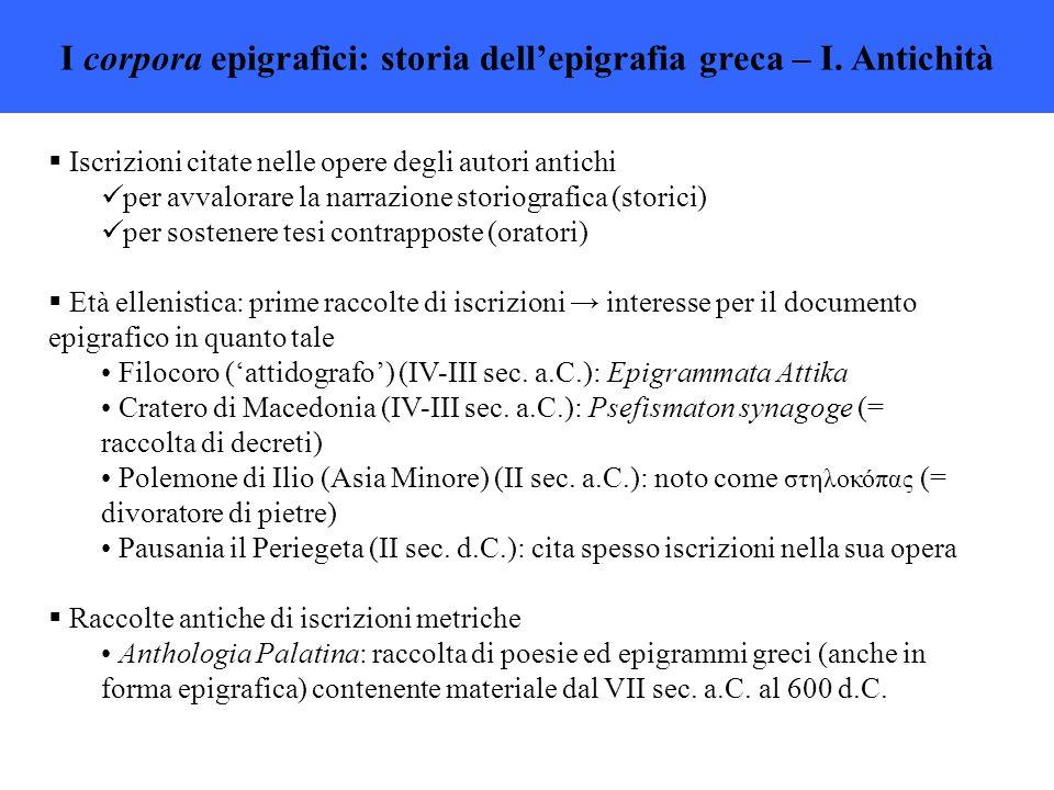 I corpora epigrafici: storia dell'epigrafia greca – I.