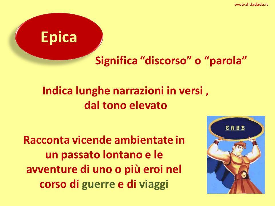 """Epica Significa """"discorso"""" o """"parola"""" Indica lunghe narrazioni in versi, dal tono elevato Racconta vicende ambientate in un passato lontano e le avven"""