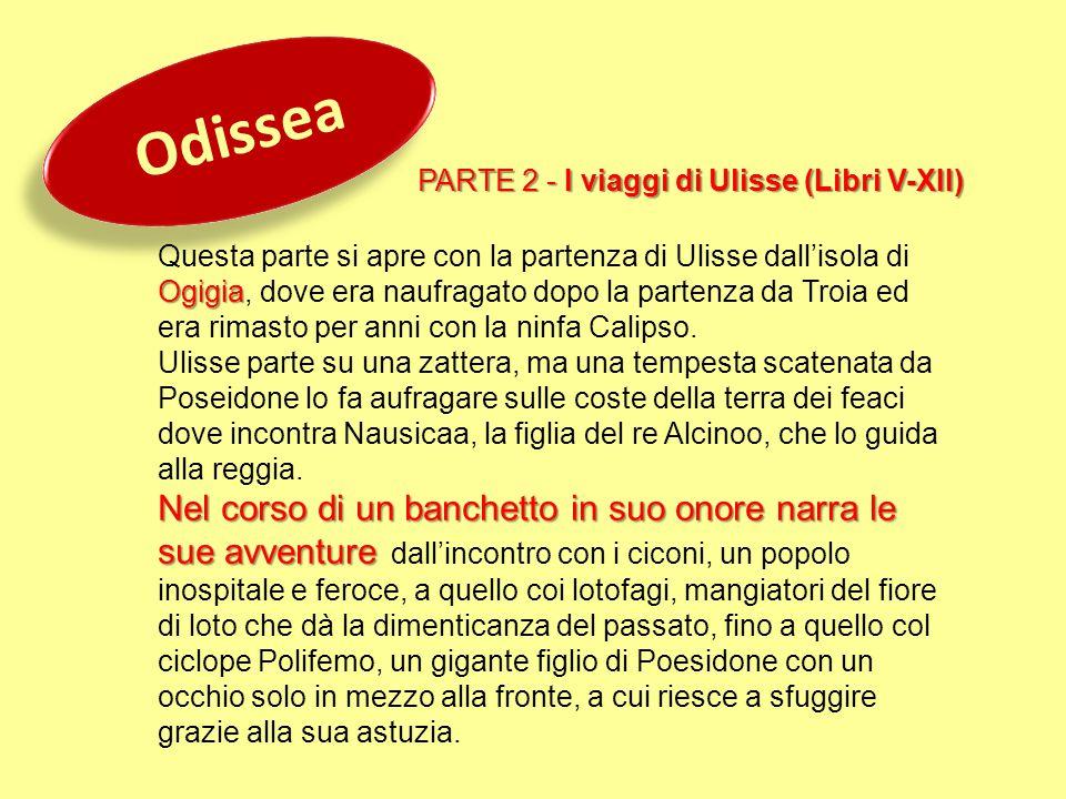 Odissea PARTE 2 - I viaggi di Ulisse (Libri V-XII) Ogigia Questa parte si apre con la partenza di Ulisse dall'isola di Ogigia, dove era naufragato dop