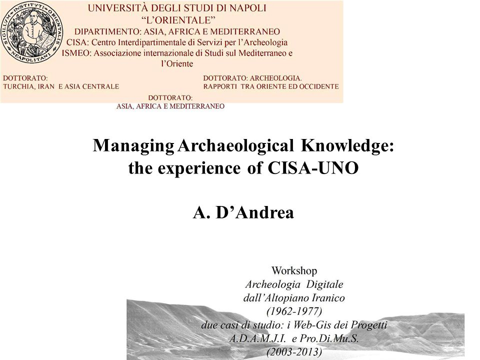 Napoli 19.2.2014 – dandrea@unior.it Managing Archaeological Knowledge: the experience of CISA-UNO A. D'Andrea