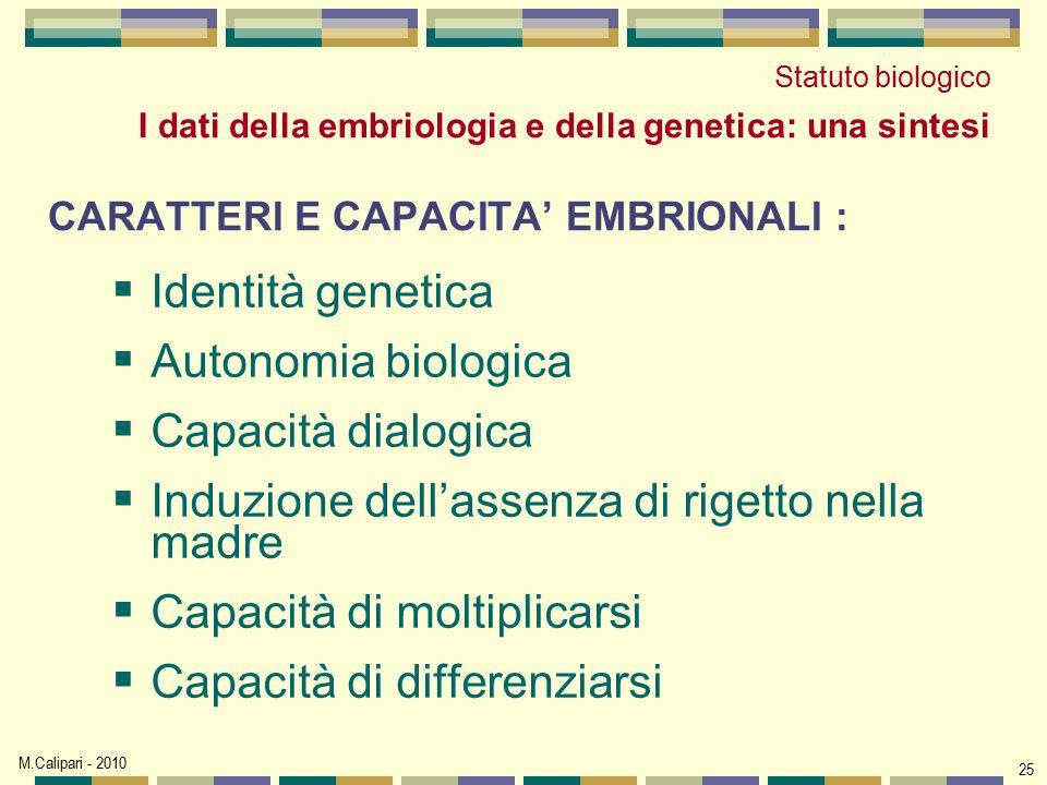 M.Calipari - 2010 25 CARATTERI E CAPACITA' EMBRIONALI :  Identità genetica  Autonomia biologica  Capacità dialogica  Induzione dell'assenza di rig