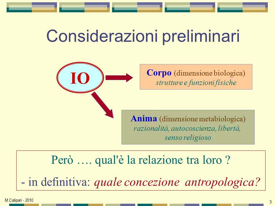 M.Calipari - 2010 3 Considerazioni preliminari IO Corpo (dimensione biologica) strutture e funzioni físiche Anima (dimensione metabiologica) razionali