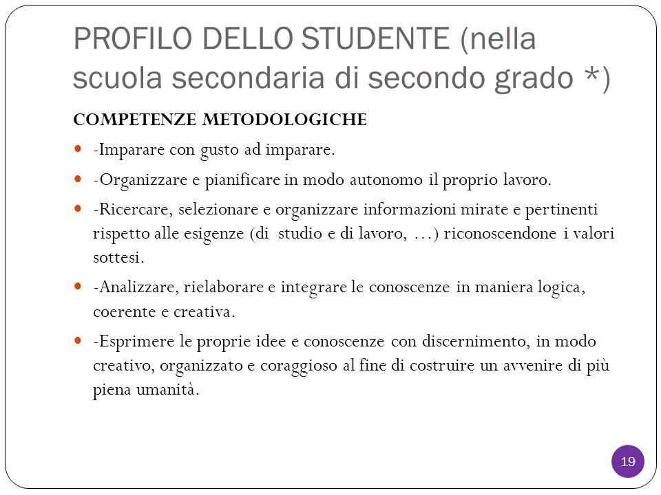 PROFILO DELLO STUDENTE (nella scuola secondaria di secondo grado *) COMPETENZE METODOLOGICHE -Imparare con gusto ad imparare.