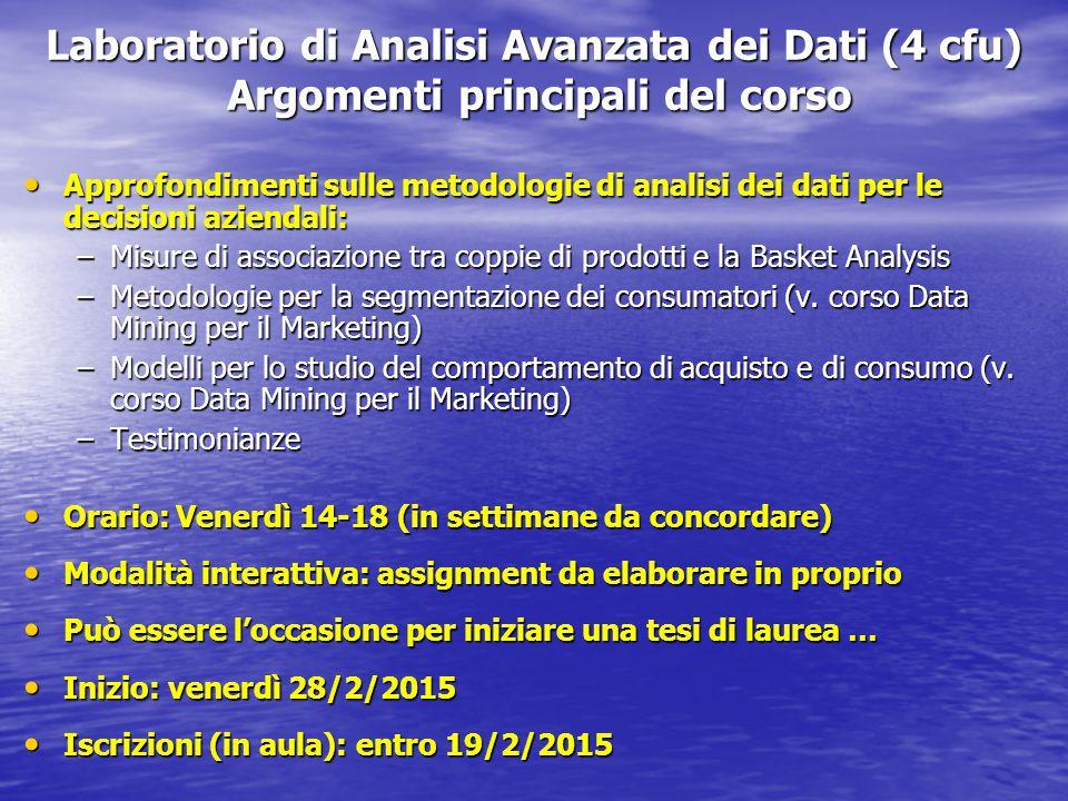 Laboratorio di Analisi Avanzata dei Dati (4 cfu) Argomenti principali del corso Approfondimenti sulle metodologie di analisi dei dati per le decisioni