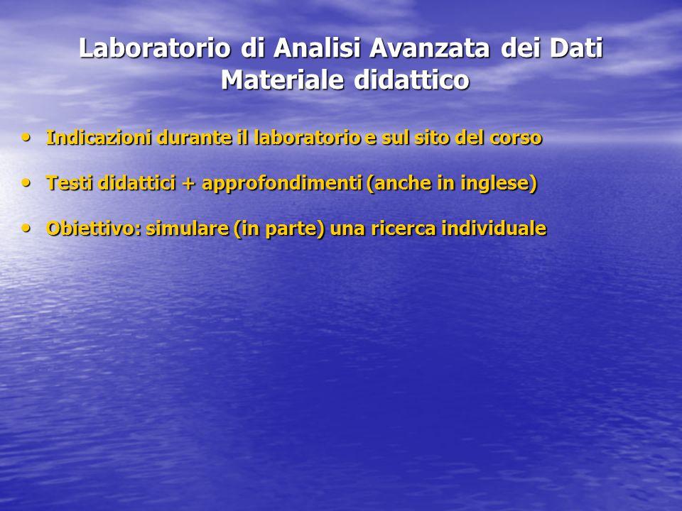 Laboratorio di Analisi Avanzata dei Dati Materiale didattico Indicazioni durante il laboratorio e sul sito del corso Indicazioni durante il laboratori