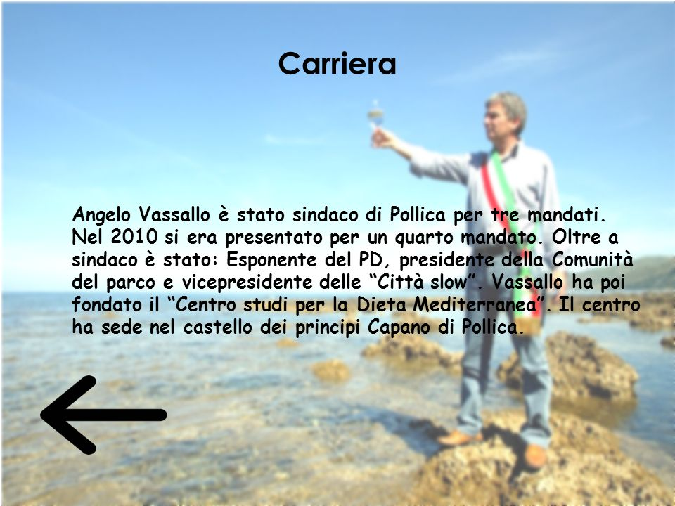 Carriera Angelo Vassallo è stato sindaco di Pollica per tre mandati. Nel 2010 si era presentato per un quarto mandato. Oltre a sindaco è stato: Espone