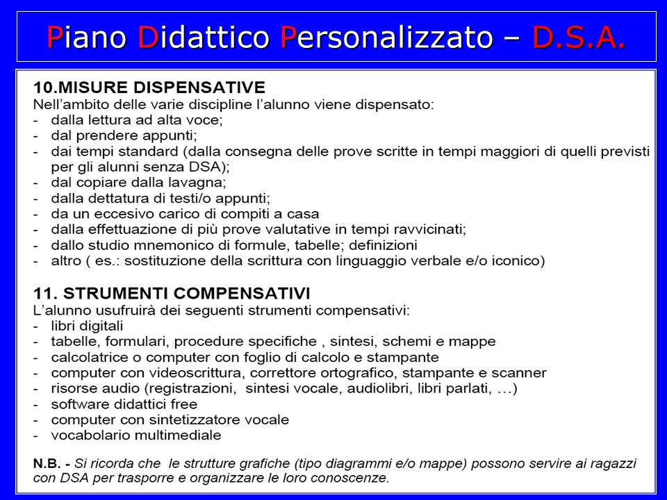 Piano Didattico Personalizzato – D.S.A.