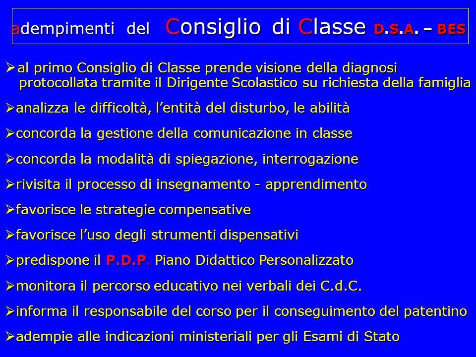 adempimenti del Consiglio di Classe D.S.A.