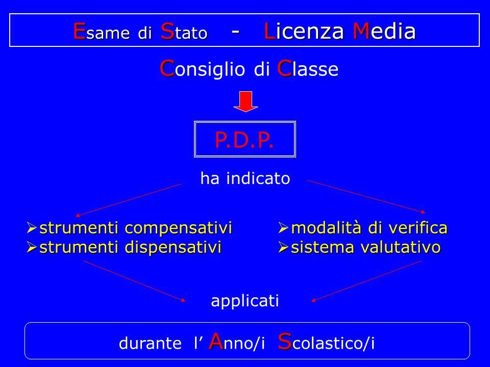 E same di S tato - Licenza Media ha indicato  strumenti compensativi  strumenti dispensativi applicati m mm modalità di verifica  s s s sistema valutativo AS durante l' A nno/i S colastico/i P.D.P.