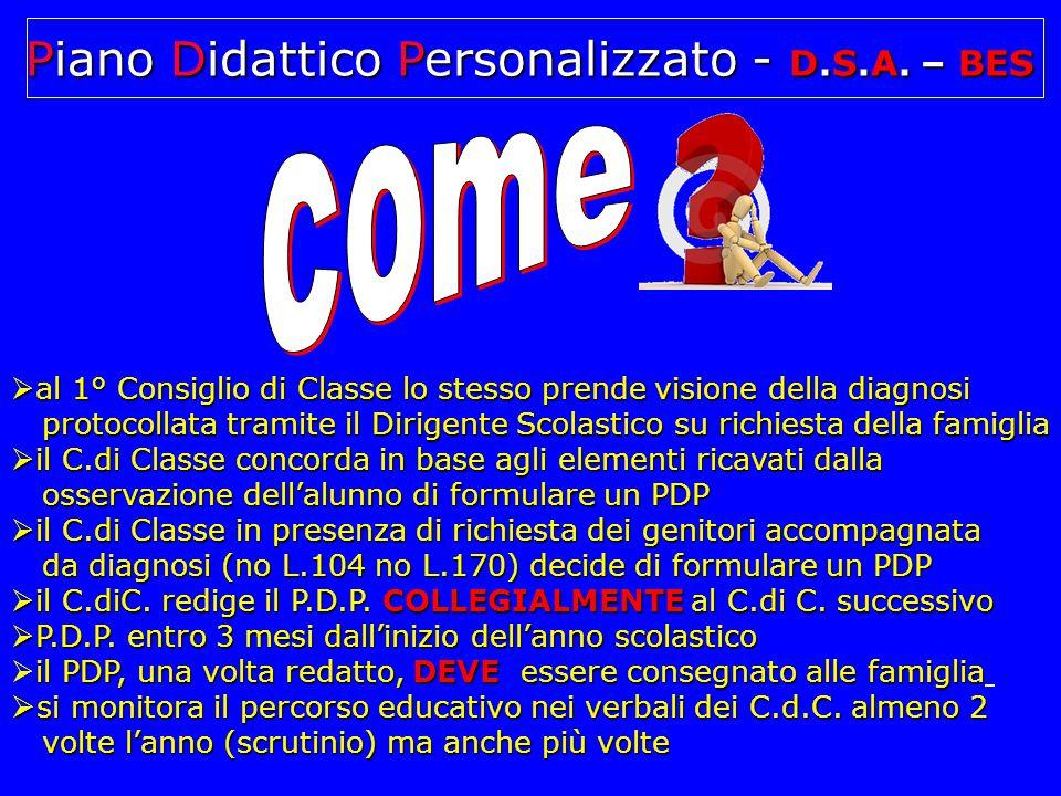 Consiglio di Classe coinvolto  clinico  genitori  studente  referente Dislessia/BES d'Istituto Piano Didattico Personalizzato - D.S.A.