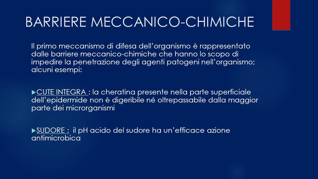 BARRIERE MECCANICO-CHIMICHE Il primo meccanismo di difesa dell'organismo è rappresentato dalle barriere meccanico-chimiche che hanno lo scopo di imped