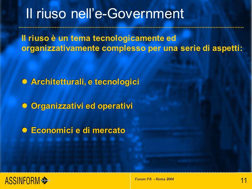 11 Forum PA - Roma 2004 Il riuso nell'e-Government Architetturali, e tecnologici Organizzativi ed operativi Economici e di mercato Architetturali, e tecnologici Organizzativi ed operativi Economici e di mercato Il riuso è un tema tecnologicamente ed organizzativamente complesso per una serie di aspetti: