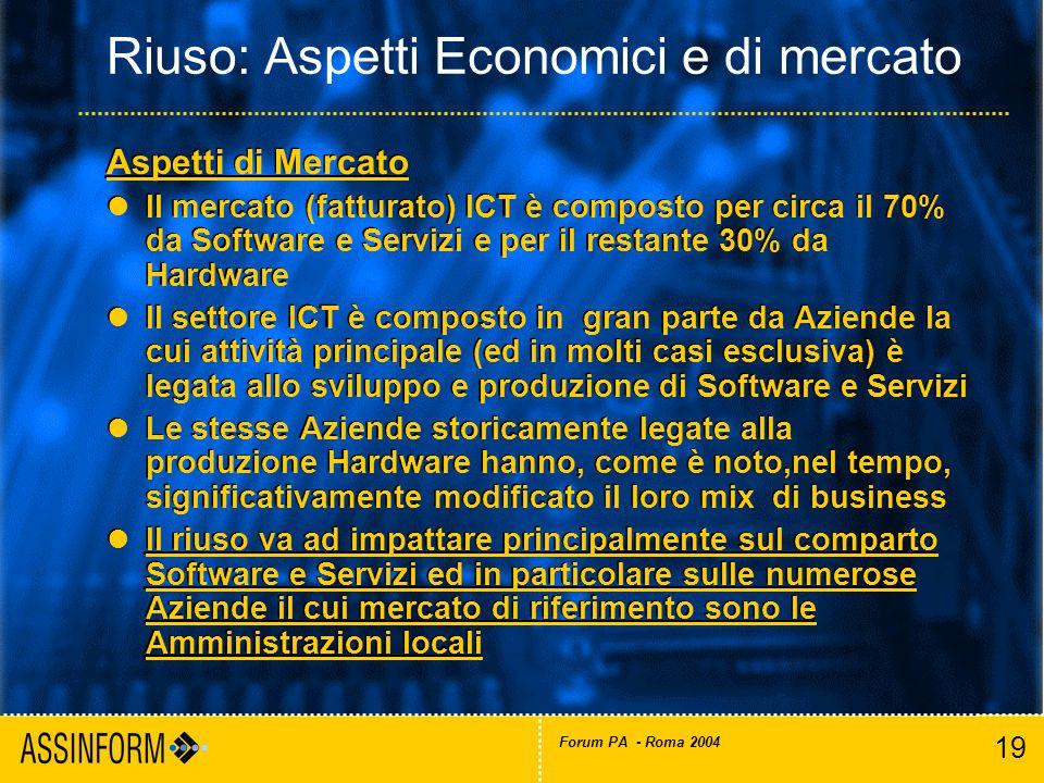 19 Forum PA - Roma 2004 Riuso: Aspetti Economici e di mercato Aspetti di Mercato Il mercato (fatturato) ICT è composto per circa il 70% da Software e Servizi e per il restante 30% da Hardware Il settore ICT è composto in gran parte da Aziende la cui attività principale (ed in molti casi esclusiva) è legata allo sviluppo e produzione di Software e Servizi Le stesse Aziende storicamente legate alla produzione Hardware hanno, come è noto,nel tempo, significativamente modificato il loro mix di business Il riuso va ad impattare principalmente sul comparto Software e Servizi ed in particolare sulle numerose Aziende il cui mercato di riferimento sono le Amministrazioni locali Aspetti di Mercato Il mercato (fatturato) ICT è composto per circa il 70% da Software e Servizi e per il restante 30% da Hardware Il settore ICT è composto in gran parte da Aziende la cui attività principale (ed in molti casi esclusiva) è legata allo sviluppo e produzione di Software e Servizi Le stesse Aziende storicamente legate alla produzione Hardware hanno, come è noto,nel tempo, significativamente modificato il loro mix di business Il riuso va ad impattare principalmente sul comparto Software e Servizi ed in particolare sulle numerose Aziende il cui mercato di riferimento sono le Amministrazioni locali