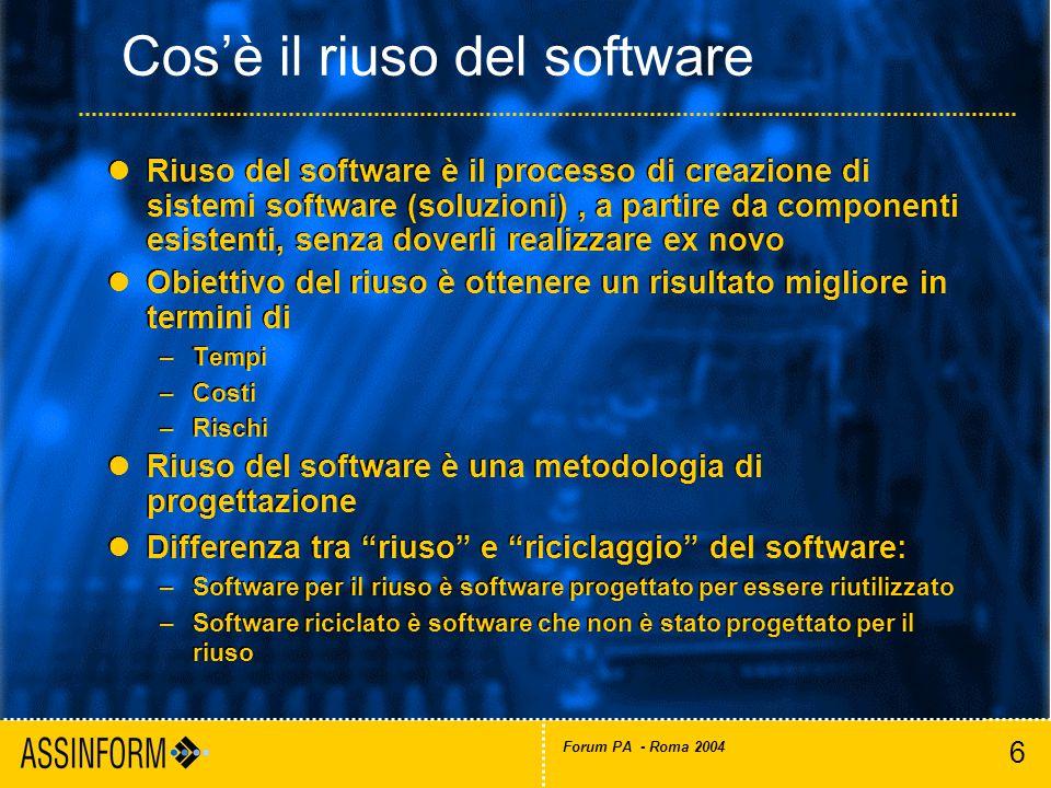 6 Forum PA - Roma 2004 Riuso del software è il processo di creazione di sistemi software (soluzioni), a partire da componenti esistenti, senza doverli realizzare ex novo Obiettivo del riuso è ottenere un risultato migliore in termini di –Tempi –Costi –Rischi Riuso del software è una metodologia di progettazione Differenza tra riuso e riciclaggio del software: –Software per il riuso è software progettato per essere riutilizzato –Software riciclato è software che non è stato progettato per il riuso Riuso del software è il processo di creazione di sistemi software (soluzioni), a partire da componenti esistenti, senza doverli realizzare ex novo Obiettivo del riuso è ottenere un risultato migliore in termini di –Tempi –Costi –Rischi Riuso del software è una metodologia di progettazione Differenza tra riuso e riciclaggio del software: –Software per il riuso è software progettato per essere riutilizzato –Software riciclato è software che non è stato progettato per il riuso Cos'è il riuso del software