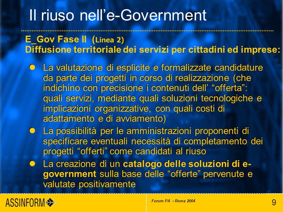 20 Forum PA - Roma 2004 Il mercato italiano dell'ICT (2001-2003) Fonte: Assinform / NetConsulting Valori in Milioni di Euro e in % 60.281 -0.5% +0.1% 60.503 60.206 -2.2% +0.4% -3.2% +1.8% Fonte: Assinform / NetConsulting