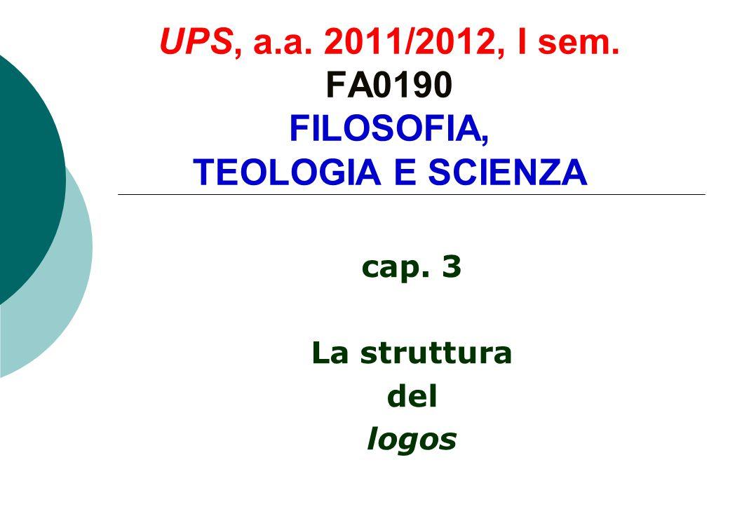 UPS, a.a. 2011/2012, I sem. FA0190 FILOSOFIA, TEOLOGIA E SCIENZA cap. 3 La struttura del logos