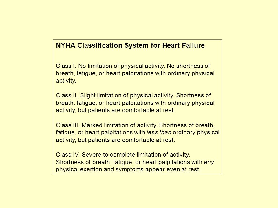 NYHA Classification System for Heart Failure Class I: No limitation of physical activity. No shortness of breath, fatigue, or heart palpitations with