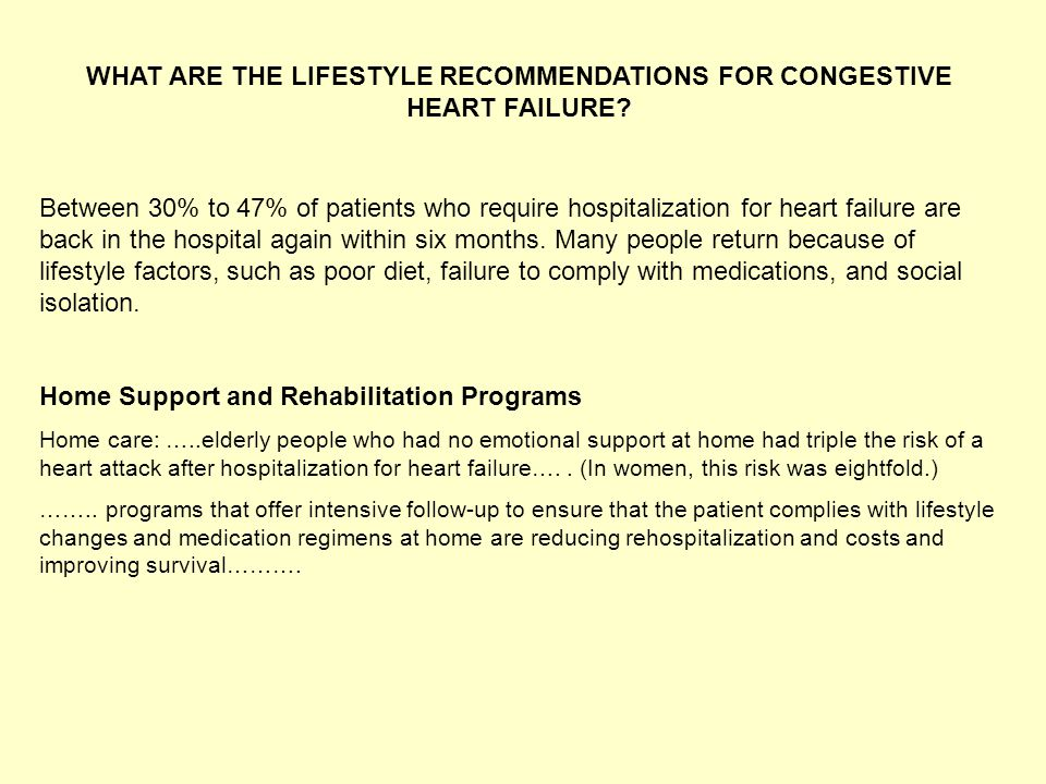WHAT ARE THE LIFESTYLE RECOMMENDATIONS FOR CONGESTIVE HEART FAILURE? Between 30% to 47% of patients who require hospitalization for heart failure are