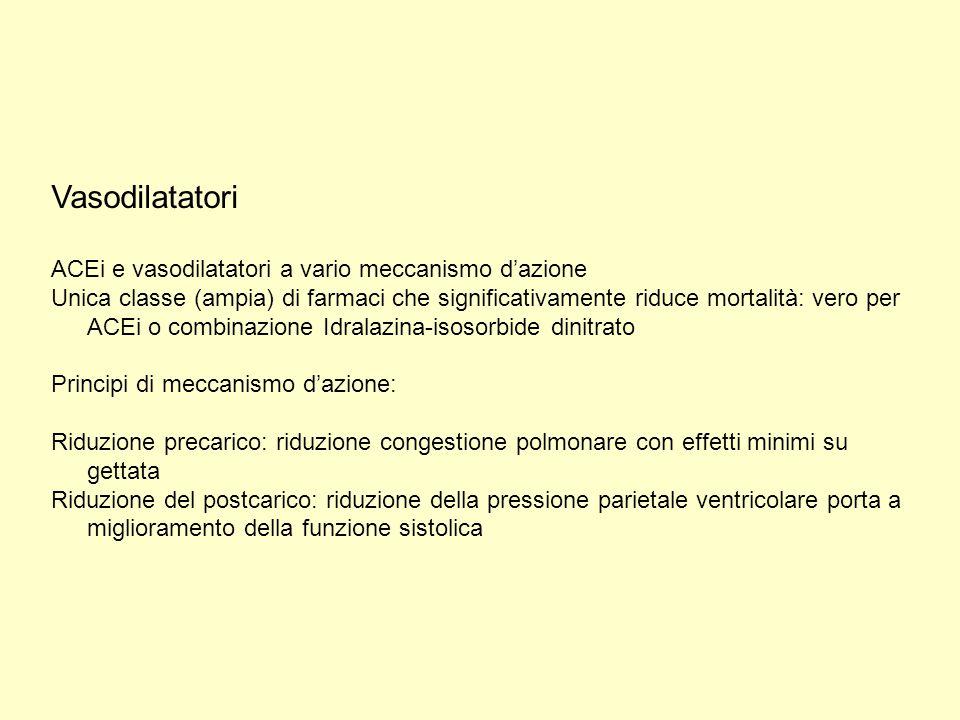 Vasodilatatori ACEi e vasodilatatori a vario meccanismo d'azione Unica classe (ampia) di farmaci che significativamente riduce mortalità: vero per ACE