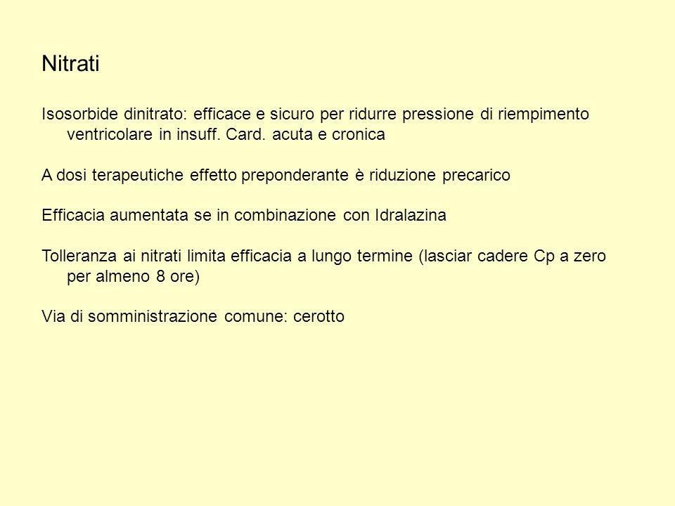 Nitrati Isosorbide dinitrato: efficace e sicuro per ridurre pressione di riempimento ventricolare in insuff. Card. acuta e cronica A dosi terapeutiche