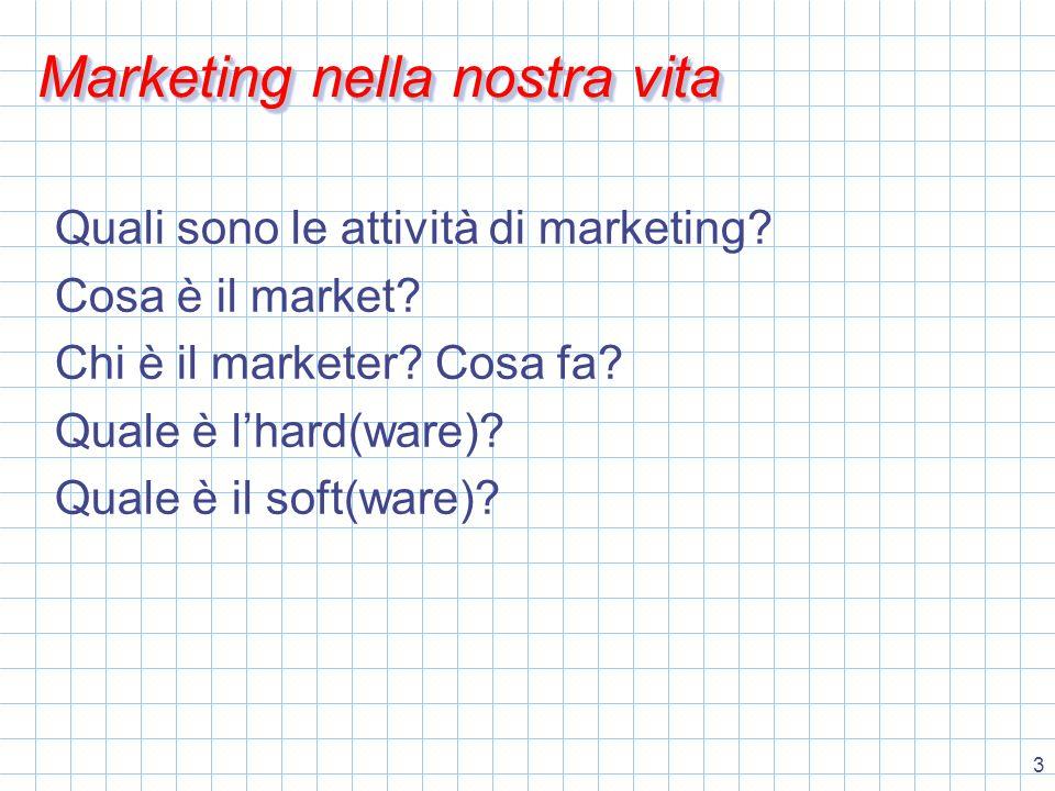 4 Marketing il modello di scambio gente & cose (hardware) gente Customers Marketers cose products services intangibili (software)