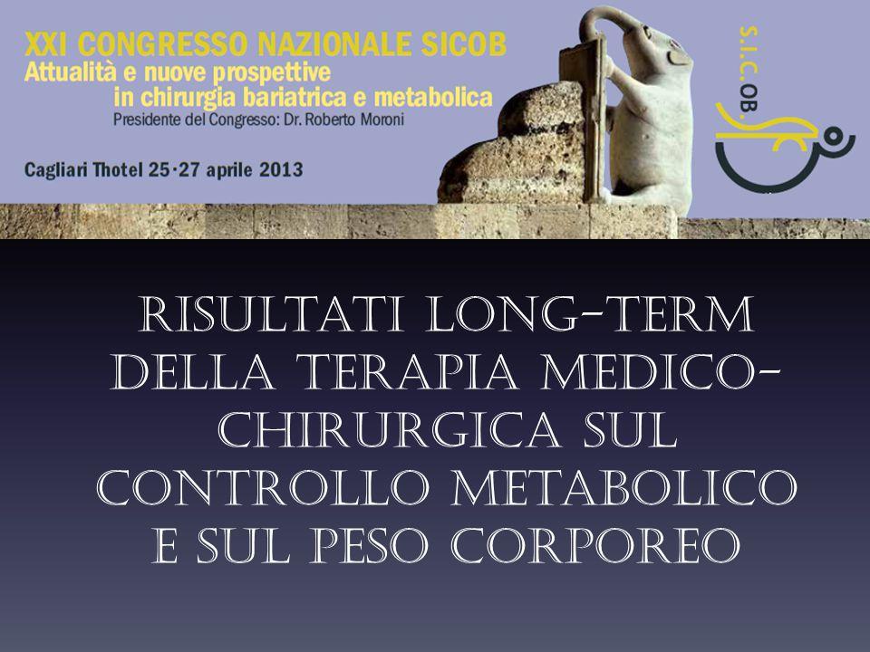 Risultati long-term della terapia medico- chirurgica sul controllo metabolico e sul peso corporeo