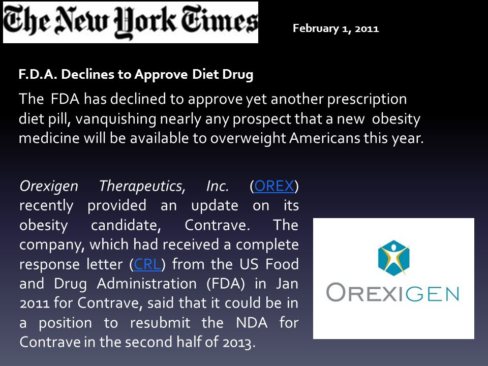 Orexigen Therapeutics, Inc. (OREX) recently provided an update on its obesity candidate, Contrave. The company, which had received a complete response