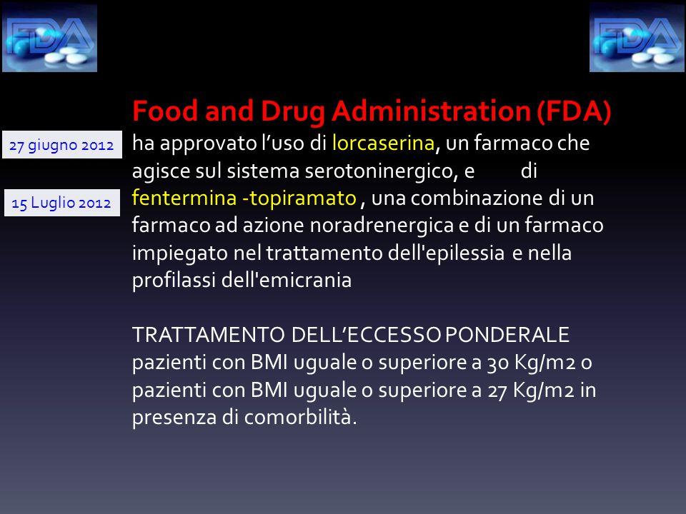 Food and Drug Administration (FDA) ha approvato l'uso di lorcaserina, un farmaco che agisce sul sistema serotoninergico, e di fentermina -topiramato, una combinazione di un farmaco ad azione noradrenergica e di un farmaco impiegato nel trattamento dell epilessia e nella profilassi dell emicrania TRATTAMENTO DELL'ECCESSO PONDERALE pazienti con BMI uguale o superiore a 30 Kg/m2 o pazienti con BMI uguale o superiore a 27 Kg/m2 in presenza di comorbilità.