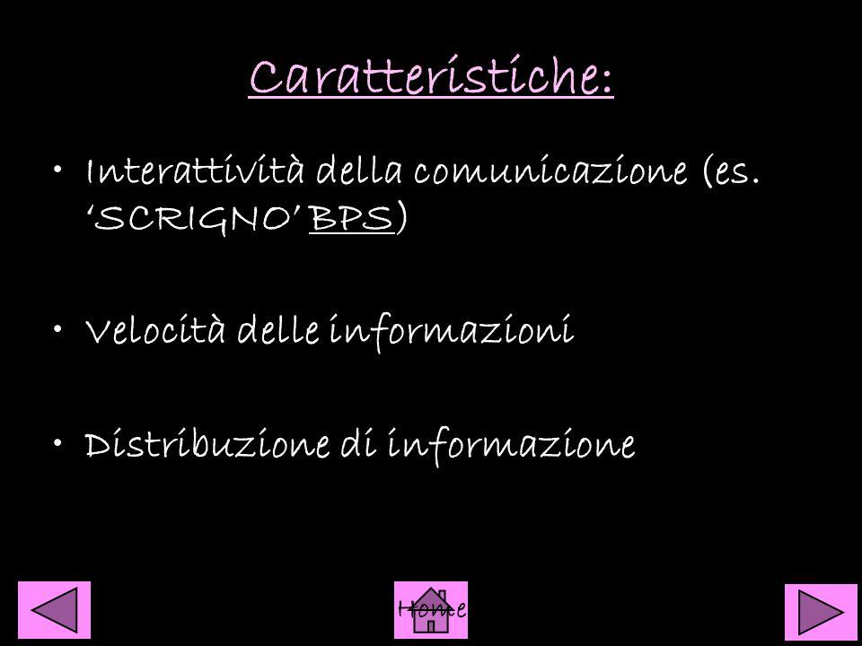 Caratteristiche: Interattività della comunicazione (es. 'SCRIGNO' BPS)BPS Velocità delle informazioni Distribuzione di informazione Home