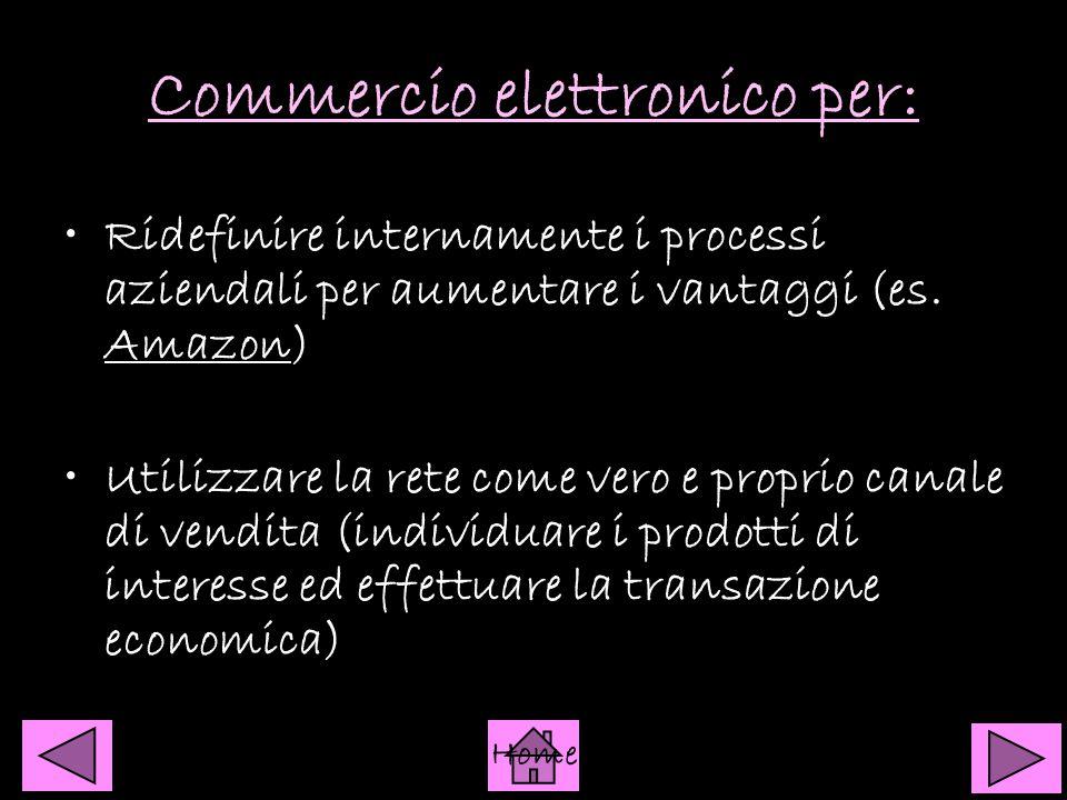 Commercio elettronico per: Ridefinire internamente i processi aziendali per aumentare i vantaggi (es. Amazon) Amazon Utilizzare la rete come vero e pr