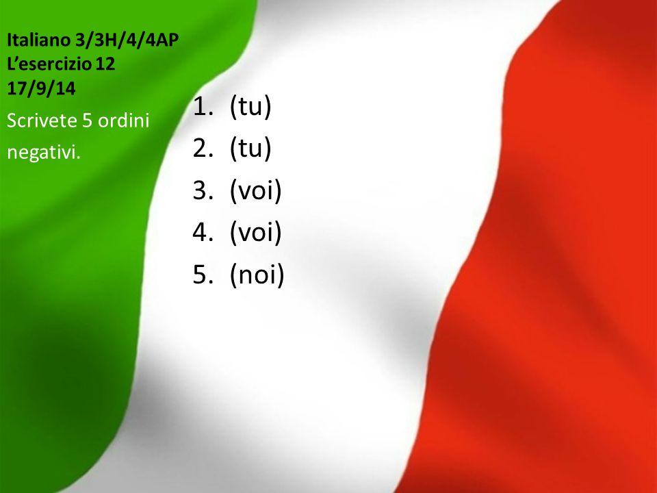 Italiano 3/3H/4/4AP L'esercizio 12 17/9/14 1.(tu) 2.(tu) 3.(voi) 4.(voi) 5.(noi) Scrivete 5 ordini negativi.