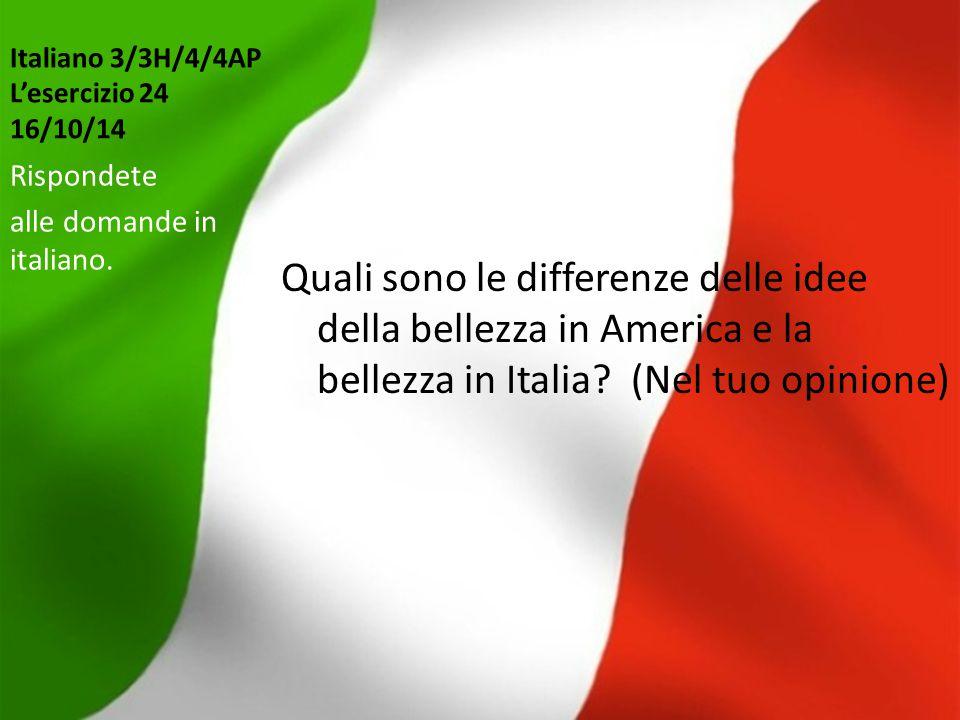 Italiano 3/3H/4/4AP L'esercizio 24 16/10/14 Quali sono le differenze delle idee della bellezza in America e la bellezza in Italia? (Nel tuo opinione)