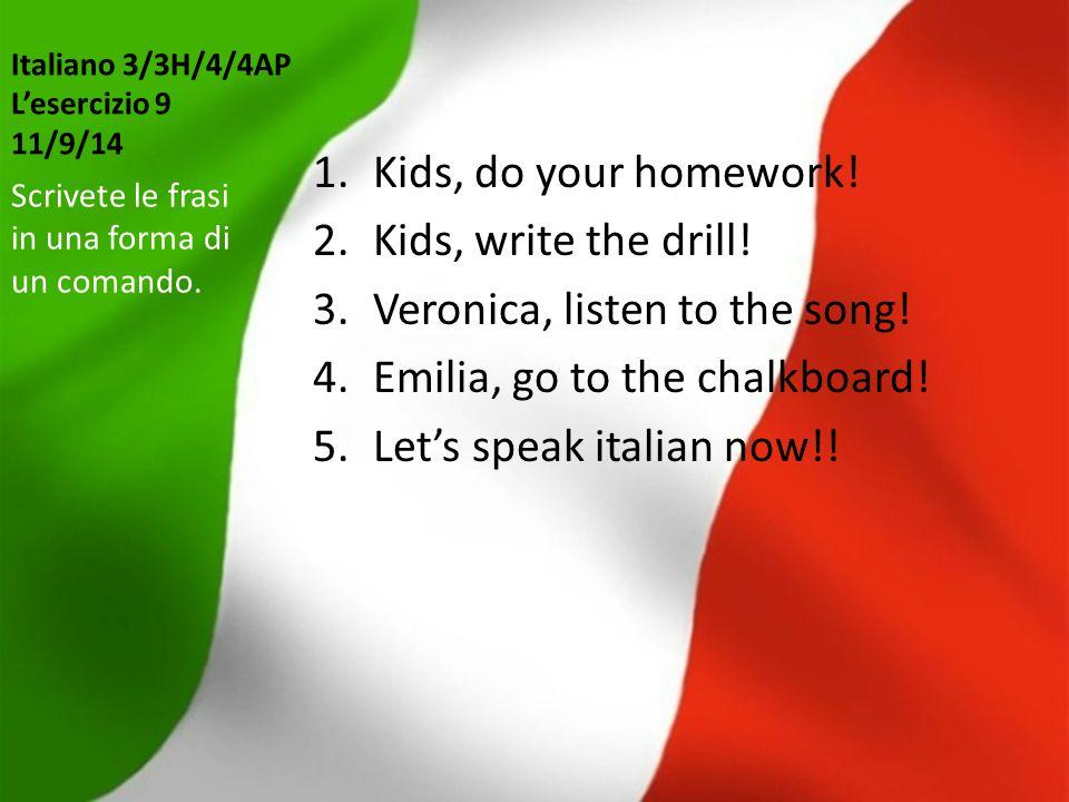 Italiano 3/3H/4/4AP L'esercizio 20 8/10/14 Che cosa voi avete capito.