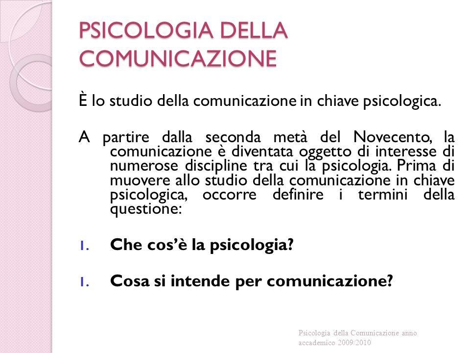PSICOLOGIA DELLA COMUNICAZIONE È lo studio della comunicazione in chiave psicologica.