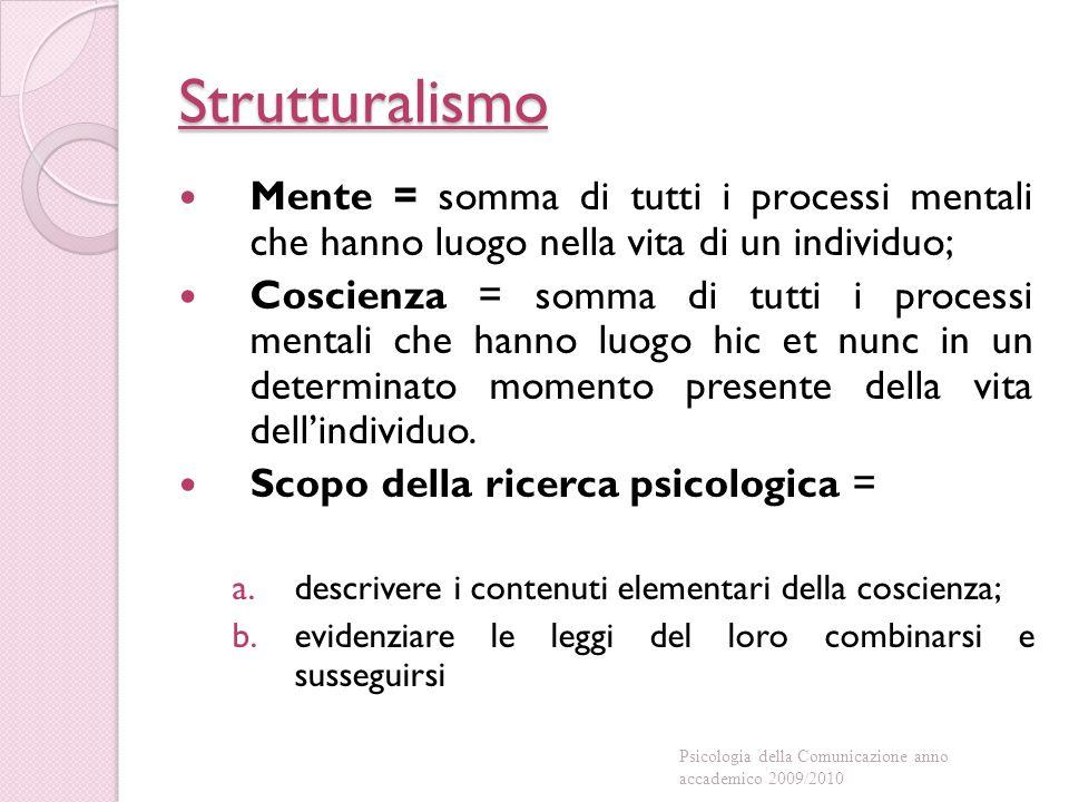 Strutturalismo Mente = somma di tutti i processi mentali che hanno luogo nella vita di un individuo; Coscienza = somma di tutti i processi mentali che hanno luogo hic et nunc in un determinato momento presente della vita dell'individuo.