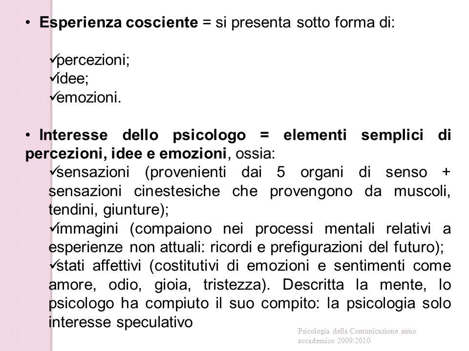 Esperienza cosciente = si presenta sotto forma di: percezioni; idee; emozioni.