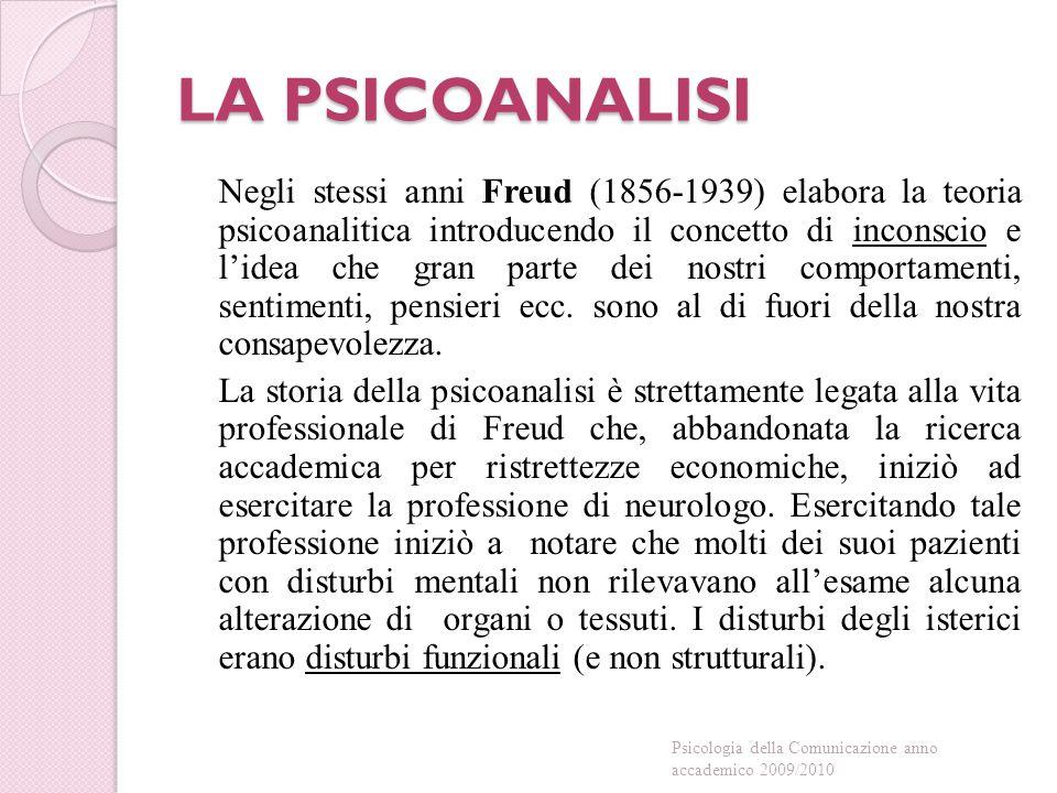 Per Freud ◦ Compito della Psicologia = comprendere e curare i pazienti con disordini mentali ◦ Comprensione della vita conscia dell'uomo è subordinata alla comprensione della vita inconscia Psicologia della Comunicazione anno accademico 2009/2010