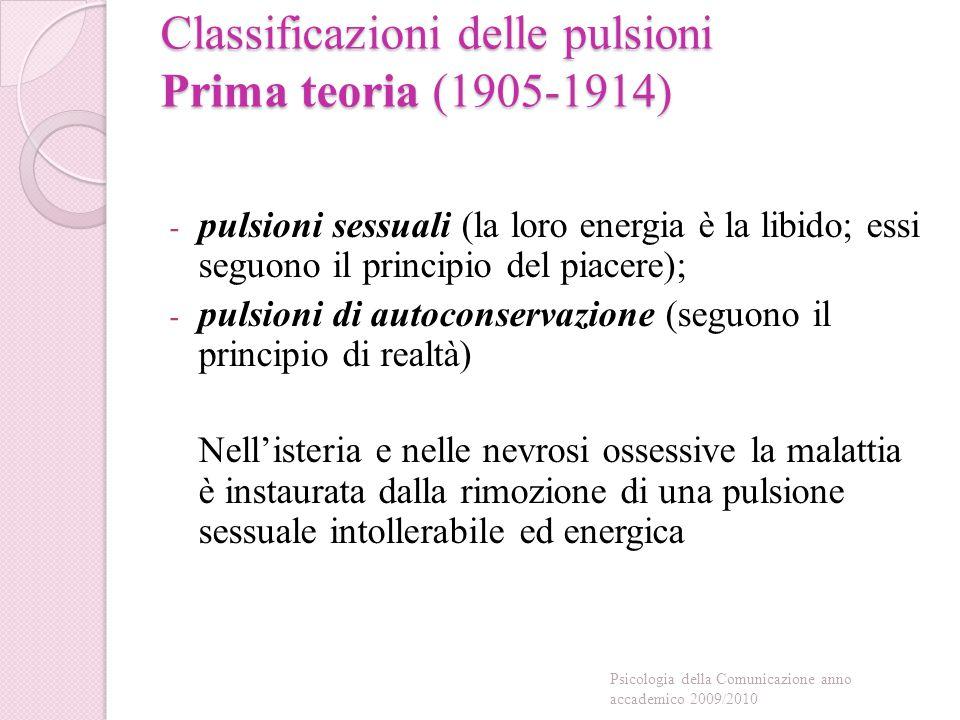 Classificazioni delle pulsioni Seconda teoria (1914-1920): distingue all'interno delle pulsioni sessuali: a) la libido oggettuale (diretta ad oggetti esterni); b) la libido narcisistica (investe la persona stessa.