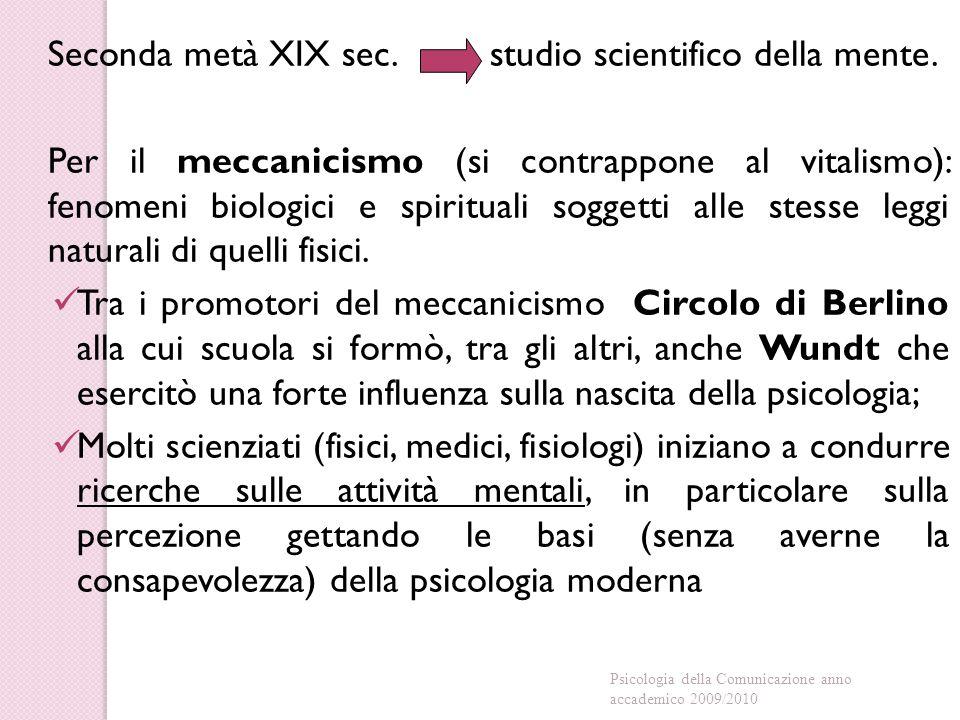 Seconda metà XIX sec.studio scientifico della mente.