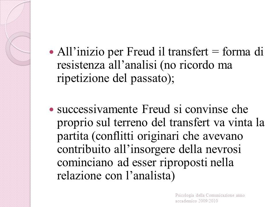 All'inizio per Freud il transfert = forma di resistenza all'analisi (no ricordo ma ripetizione del passato); successivamente Freud si convinse che proprio sul terreno del transfert va vinta la partita (conflitti originari che avevano contribuito all'insorgere della nevrosi cominciano ad esser riproposti nella relazione con l'analista) Psicologia della Comunicazione anno accademico 2009/2010