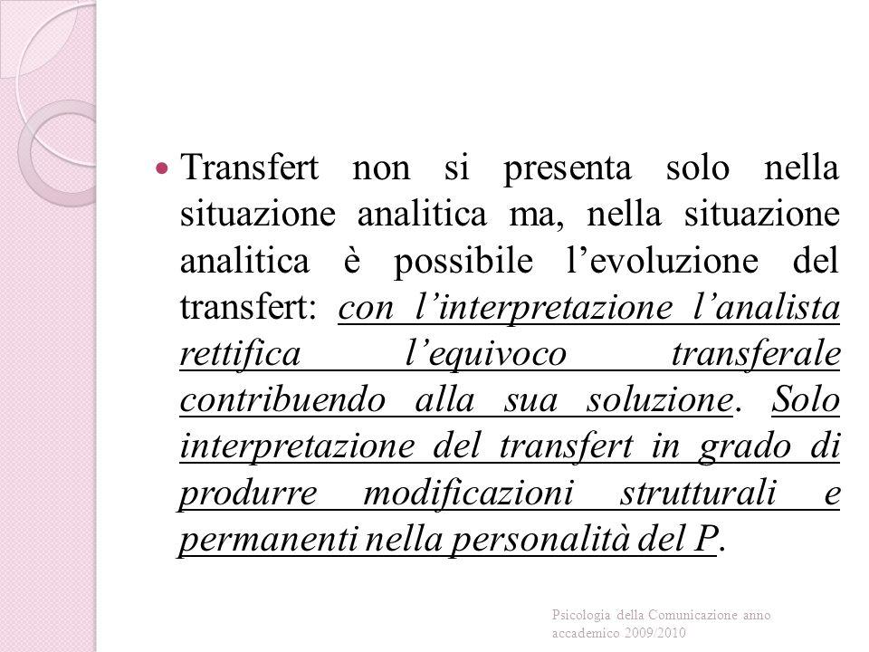 Transfert non si presenta solo nella situazione analitica ma, nella situazione analitica è possibile l'evoluzione del transfert: con l'interpretazione l'analista rettifica l'equivoco transferale contribuendo alla sua soluzione.