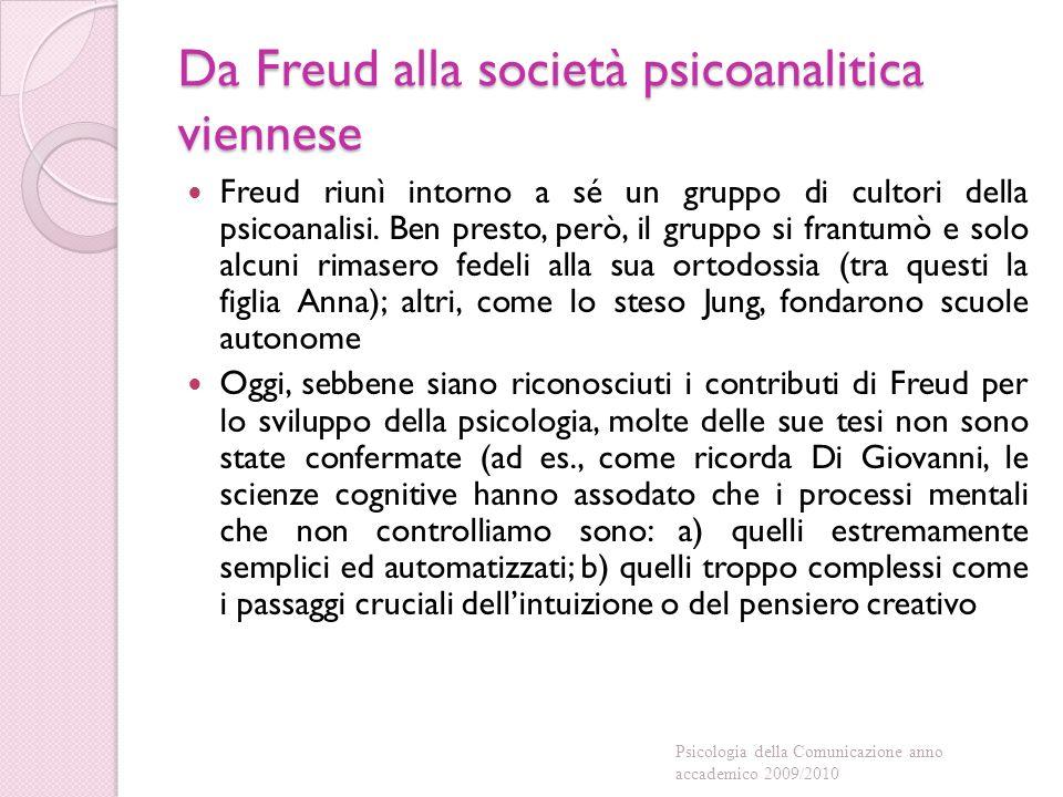 Da Freud alla società psicoanalitica viennese Freud riunì intorno a sé un gruppo di cultori della psicoanalisi.