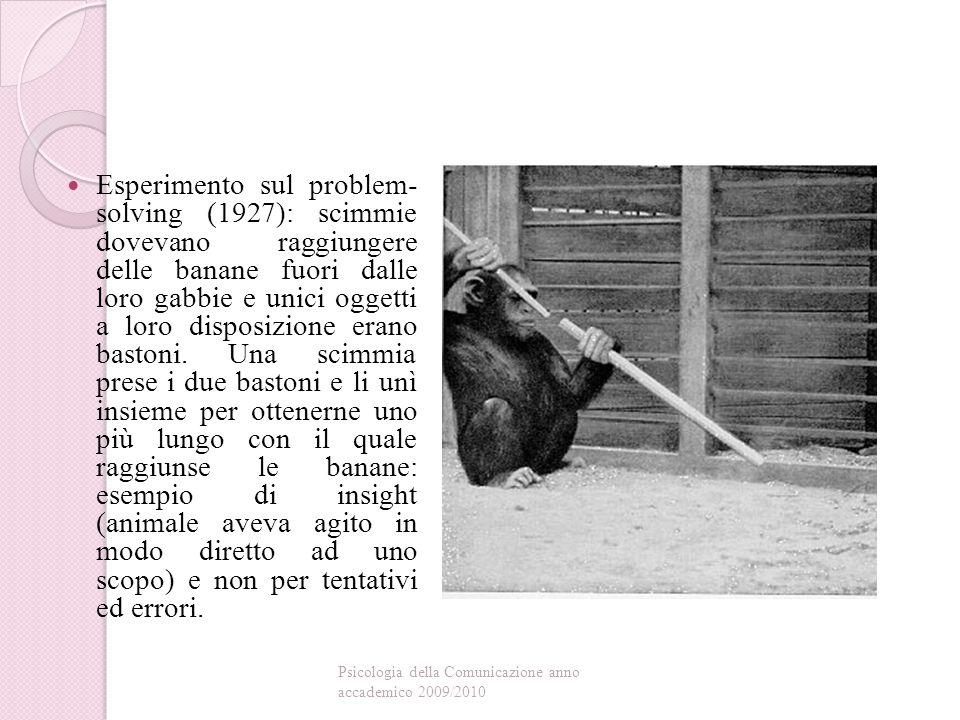 Esperimento sul problem- solving (1927): scimmie dovevano raggiungere delle banane fuori dalle loro gabbie e unici oggetti a loro disposizione erano bastoni.