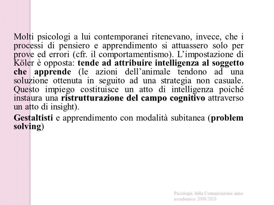 ristrutturazione del campo cognitivo Molti psicologi a lui contemporanei ritenevano, invece, che i processi di pensiero e apprendimento si attuassero solo per prove ed errori (cfr.
