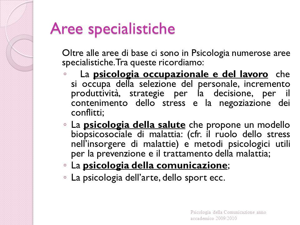 Aree specialistiche Oltre alle aree di base ci sono in Psicologia numerose aree specialistiche.