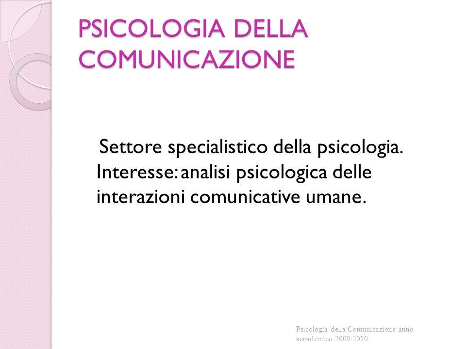 PSICOLOGIA DELLA COMUNICAZIONE Settore specialistico della psicologia. Interesse: analisi psicologica delle interazioni comunicative umane. Psicologia