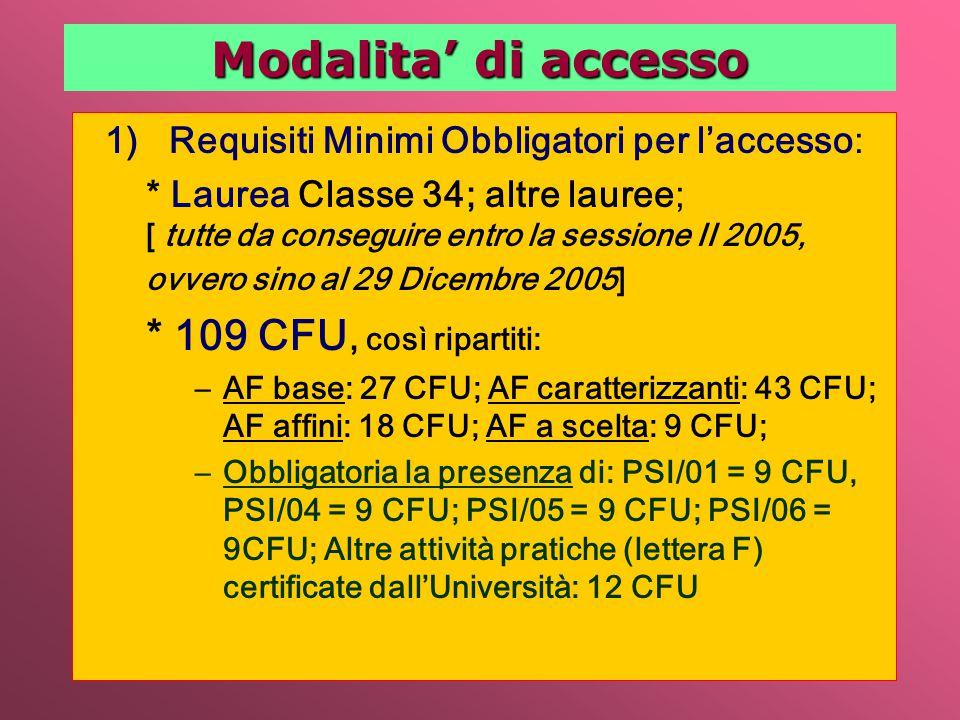 1)Requisiti Minimi Obbligatori per l'accesso: * Laurea Classe 34; altre lauree; [ tutte da conseguire entro la sessione II 2005, ovvero sino al 29 Dicembre 2005] * 109 CFU, così ripartiti: –AF base: 27 CFU; AF caratterizzanti: 43 CFU; AF affini: 18 CFU; AF a scelta: 9 CFU; –Obbligatoria la presenza di: PSI/01 = 9 CFU, PSI/04 = 9 CFU; PSI/05 = 9 CFU; PSI/06 = 9CFU; Altre attività pratiche (lettera F) certificate dall'Università: 12 CFU Modalita' di accesso