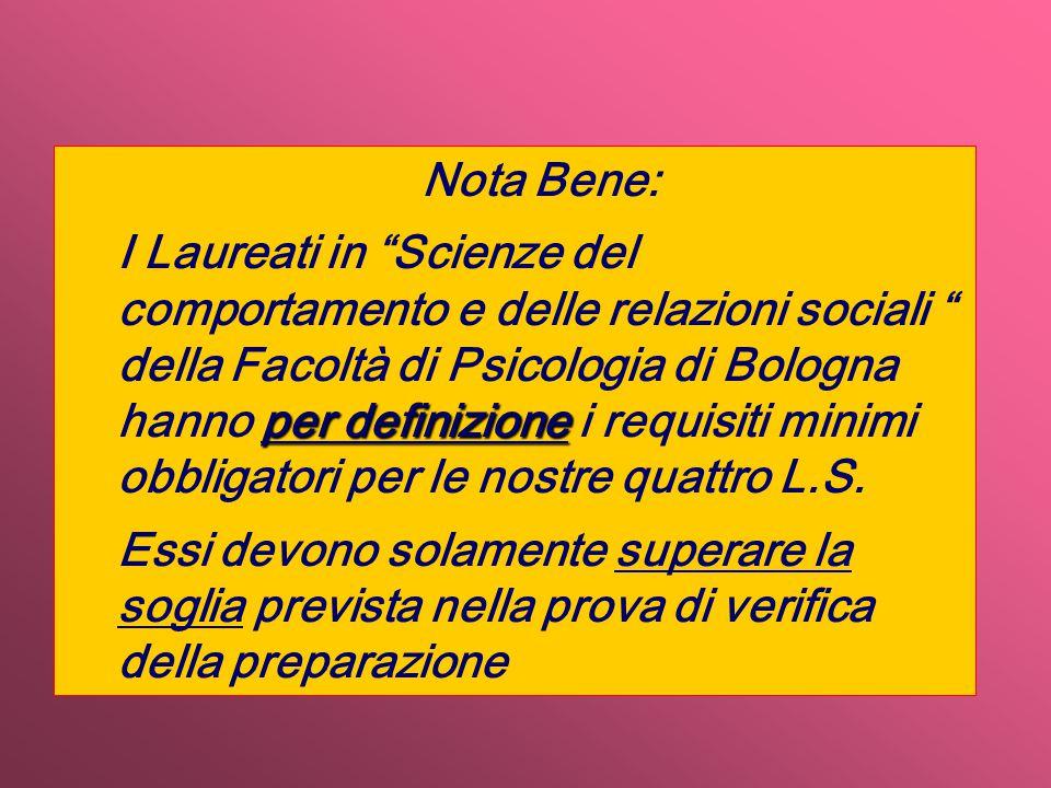 Nota Bene: per definizione I Laureati in Scienze del comportamento e delle relazioni sociali della Facoltà di Psicologia di Bologna hanno per definizione i requisiti minimi obbligatori per le nostre quattro L.S.
